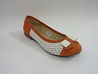 Кожаные белые оранжевые яркие польские балетки с перфорацией 41р Elegance