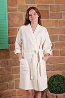 Женский хлопковый халат пике YELIZ молочный L