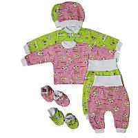 Комплект с начесом ползуны,кофточка,пинетки, шапочка для новорожденных