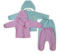 Комплект ползуны,кофточка,шапочка для новорожденных