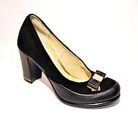 Женские черные замшевые туфли с бантиком на высоком каблуке
