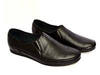 Туфли-мокасины кожаные мужские, цвет черный.
