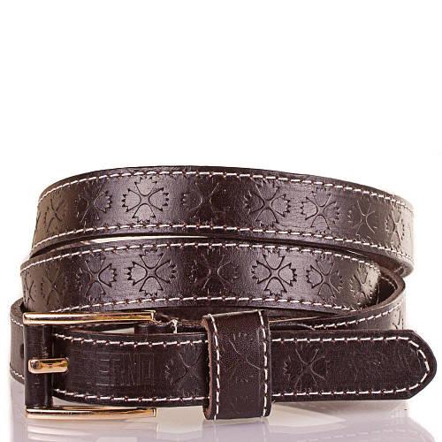 Женский узкий кожаный ремень ETERNO (ЭТЕРНО) ETS5182-10 коричневый