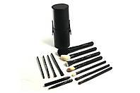 Кисти набор кистей MAC в тубусе 12 штук Черные, кисти для макияжа