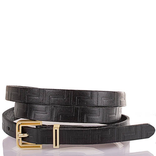 Женский узкий кожаный ремень ETERNO (ЭТЕРНО) ETS5098-2 черный
