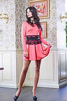Короткое платье с гипюровым поясом МИШЕЛЬ коралловый, фото 1
