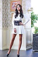 Короткое платье с гипюровым поясом МИШЕЛЬ белый, фото 1