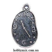 """Метал. подвеска """"часы"""" серебро (1,3х2,2 см) 8 шт в уп."""