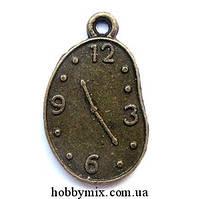 """Метал. подвеска """"часы"""" бронза (1,3х2,2 см) 8 шт в уп."""