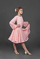 Платье для танцев- бейсик с гипюром и регилином «Жемчужина»