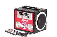 Портативная переносная колонка с FMрадио ATLANFA AT-8997 Пульт ДУ Встроенный Li-ion аккумулятор+Часы+будильник