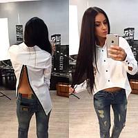 Женская модная белая рубашка на змейке