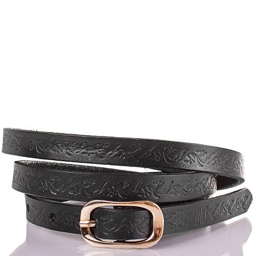 Женский узкий кожаный ремень ETERNO (ЭТЕРНО) ETS5102-2 черный