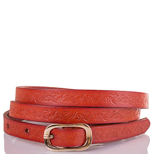 Женский узкий кожаный ремень ETERNO (ЭТЕРНО) ETS5102-12 оранжевый