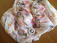 Шарф - бусы (шарф с бусами) нежно-розовый