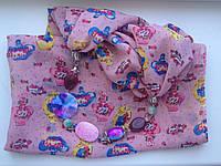 Шарф - бусы (шарф с бусами) розовый