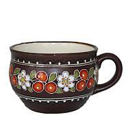 """Глиняная посуда """"Чашка большая Вишенка"""""""