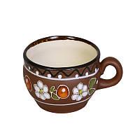 """Глиняная посуда """"Чашка для кофе малая Вишенка"""""""