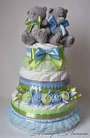 """Торт из памперсов """"Салатово-голубой"""" близнецам 70 штук"""