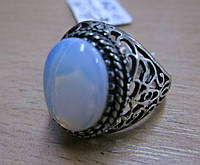 """Кольцо с опалитом лунным камнем """"Овал"""", размер 19,18 от Студии LadyStyle.Biz"""