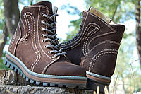 Женские зимние ботинки натуральный нубук