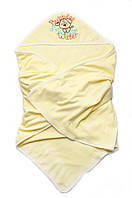 Детское полотенце с уголоком-капюшоном для купания  размер 95*95 см  цвет желтый, персик, сиреневый,голубой
