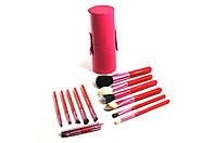Профессиональные Кисти MAC Набор кистей в тубусе 12 штук Розовые