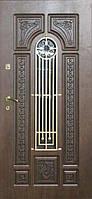 """Входная металлическая дверь с ковкой и стеклом для улицы """"Портала"""" (Patina Elit) ― модель BIG-16"""