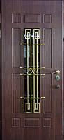 """Входная металлическая дверь с ковкой и стеклом для улицы """"Портала"""" (Элит Vinorit) ― модель Ковка 25"""