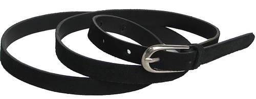 Женский замшевый кожаный ремень Skipper 5656 ДхШ: 115х1,5 см. чёрный