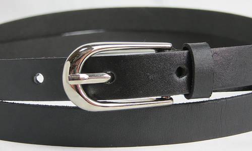 Женский узкий кожаный ремень Skipper 5657 ДхШ: 124х1,5 см. чёрный
