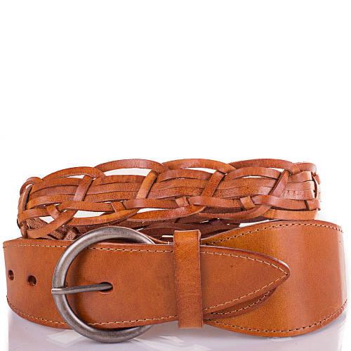 Женский плетёный кожаный ремень ETERNO (ЭТЕРНО) ETS269-12 оранжевый