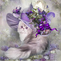 """Набор алмазной вышивки """"Кошка в шляпе с цветами"""""""