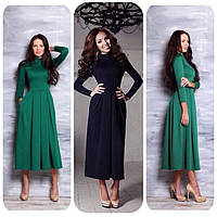 Платье трикотажное с длинным рукавом и юбкой в складку