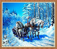 """Вышивка алмазная """"Тройка лошадей зимой"""""""