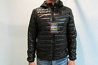 Мужская осенняя куртка Remain 70310 черная с капюшоном код 198б