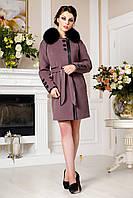 Женское кашемировое зимнее пальто с натуральным мехом песца, разные цвета