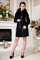 Кашемировое зимнее пальто с натуральным мехом песца, разные цвета