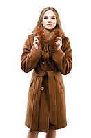 Женское двубортное зимнее пальто с натуральным мехом (коньяк), разные цвета