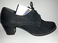 Кожаные польские женские черные удобные закрытые туфли Tanex