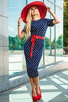 Прямое синее нарядное платье в белый горох масло размеры 44-46,46-48,48-50