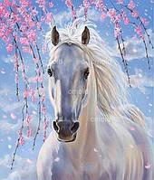 """Набор для алмазной живописи """"Белая лошадь на фоне цветущей сакуры"""