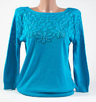 Пуловер, кофта со стразами  голубой размер 46-48