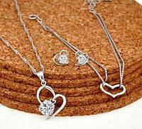 Серебряный набор женский браслет, серьги, кулон сердечки + футляр