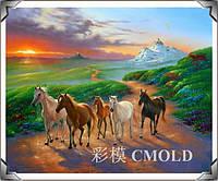 """Алмазная вышивка набор """"Лошади на фоне заката"""""""