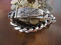 Мужской большой серебряный браслет Дракон Chrome Hearts 16 мм. 106,29 грамм  22,5 см