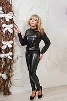 Модные женские леггинсы №1543 (черные)
