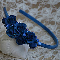 """Обруч с цветами """"Синий велюр"""""""