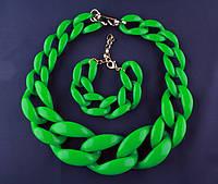 Комплект браслет + цепь от Diana Broussard. Зеленое