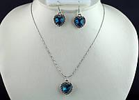 Набор ожерелье+серьги синий